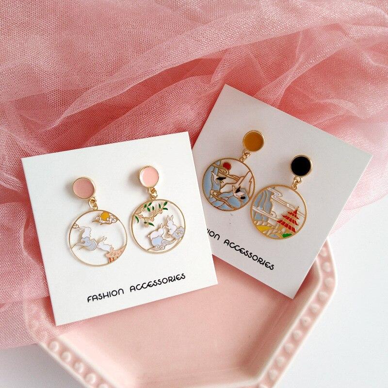 Japanese Heng Feng Clip On Earrings Asymmetrical Rabbit Crane Mountain Clip on Earrings Without Piercing for Girls Women