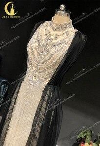 Image 5 - Zuhair, photo rhénane, robe de soirée de standing à col haut, couleur argent, longueur genou, luxueuse, robe de soirée, 2020