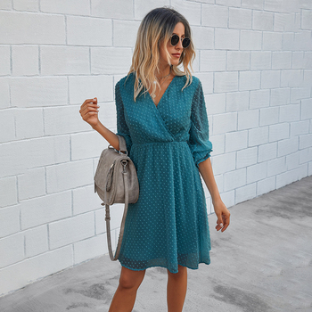 Women Dress Autumn Spring Solid Black Casual Ladies Long Sleeve A Line Dresses Fall Ruched Slim Waist Clothes 2020 Fashion Green 10