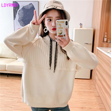 2019 autumn and winter new women's Korean version of the wild hooded hooded long-sleeved loose stitching fringed knit sweater цены онлайн