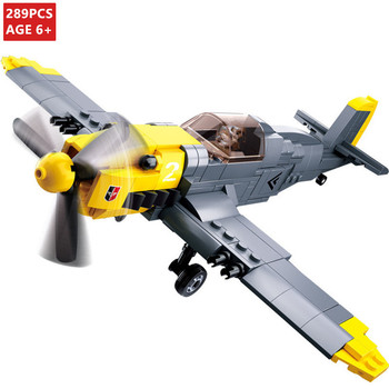 289Pcs WW2 Military Germany Army Air Forces BF-109 Fighter Plane Model Building Blocks Brinquedos Educational Bricks Kids Toys
