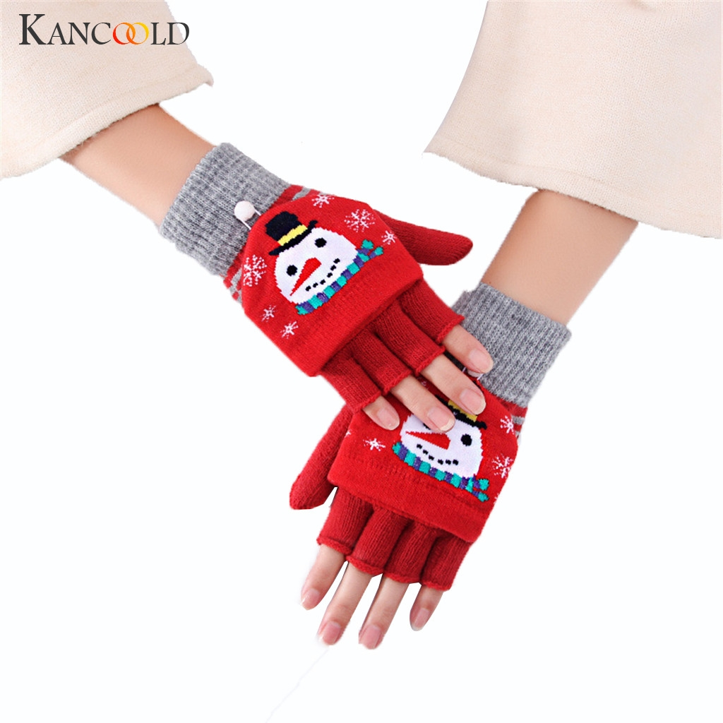 KANCOOLD Vintage Christmas Deer Knitted Gloves Women Thicken Touch Screen Gloves Winter Warm Snow Elk  Finger Mittens Xmas Gift