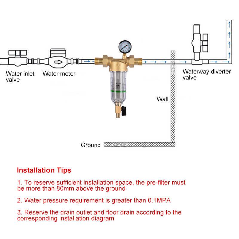 Air Pre Filter Sistem 1 Inci dengan 2/5 Inch Kuningan Mesh Prefilter dari Pusat Air Pembersih Kerak dengan Pressure Gauge