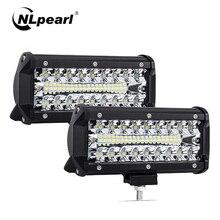 "Nlpearl 2x7 ""12"" 120W 240W LED בר אור בר לנהיגה Offroad סירת רכב טרקטור משאית טרקטורונים ספוט מבול קומבו LED עבודה אור בר"
