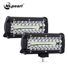 """Nlpearl barre lumineuse de travail, 120W 240W barre de LED, 2x7 """", lampe LED, pour conduite pour bateau, voiture, tracteur, camion, ATV, Combo"""