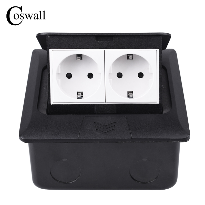 Coswall All Aluminum Black Panel Slow Pop Up Floor Socket 2 Gang Russia Spain EU Standard Power Outlet Grounded With Damping