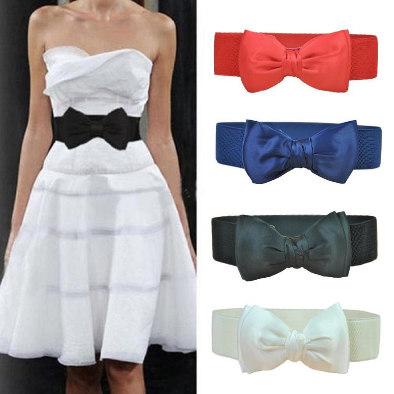 Women Elastic Bow Wide Waistband Stretch Bowknot Bukle Waist Belt 6 Colors Female Dress Accessories