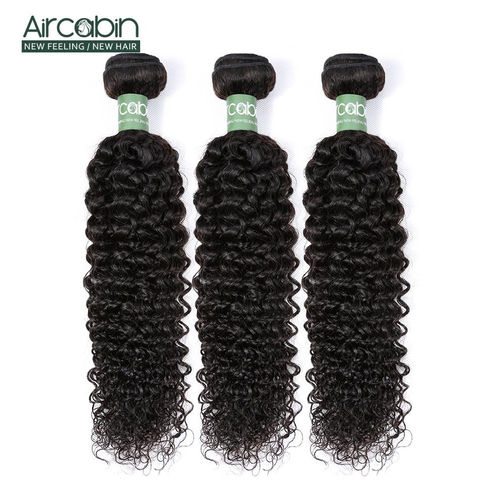 Aircabin brasileiro remy cabelo kinky curly bundles 100% tecer cabelo humano 3/4 pacotes 8-26 polegada cor natural extensão do cabelo humano