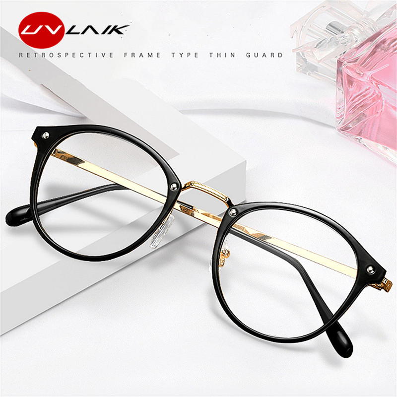 UVLAIK 2020 Transparent Glasses Frame Women Retro Vintage Clear Pink Eyeglasses Frames Men Glasses Clear Lens Optical Eyewear