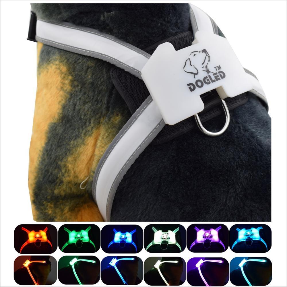 Harnais dogled produits pour animaux de compagnie pour grand 7 en 1 couleur chien harnais brillant USB Led collier chiot plomb animaux gilet chien conduit