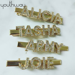 Custom personalized words Hair Clips Barrettes Pins A tony clip emblazoned with your favorite name for women girls(China)