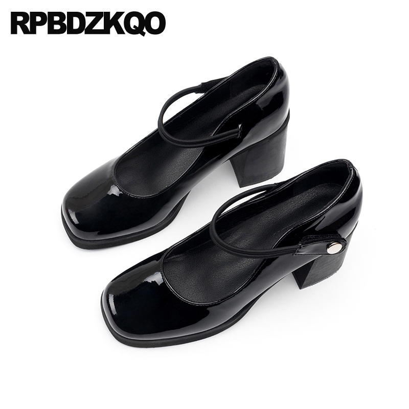 8cm Patent Leather Pumps Mary Jane Medium Heels High Fashion Autumn Black Suede Block Shoes For Women Chunky Square Toe 2019