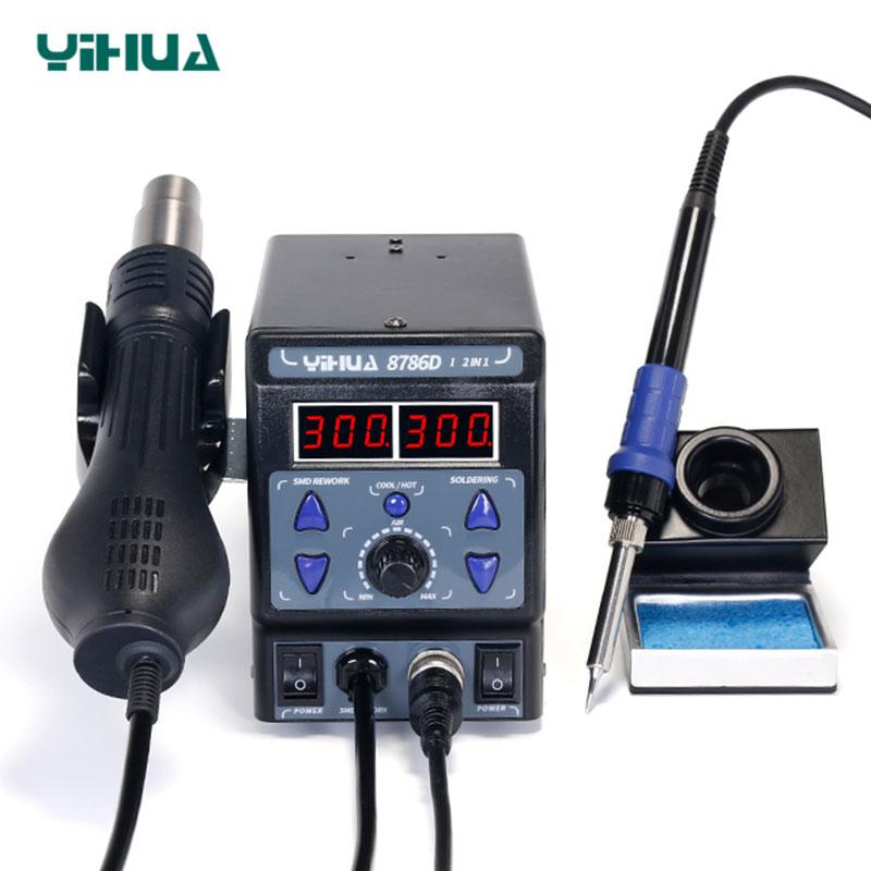 YIHUA 8786DI 8786D Soldering Station Digital Display Hot Air Gun Heat Gun Welding Station BGA Rework Station