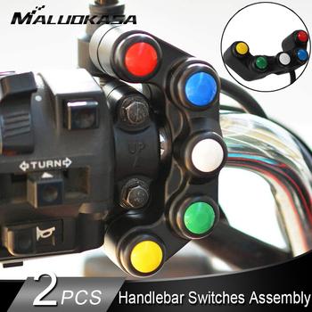 2 sztuk uniwersalny 5 przycisk Array przełączniki motocyklowe rowery wyścigowe Motorcross 22mm kierownica przełączniki uchwyt montażowy przełącznik tanie i dobre opinie eadlight Indicator Horn Switch 130g 3 8cm Rohs 3 9cm 9 3cm plastic+Electronic Components Motocykl przełączniki 2PCS 5 button Array