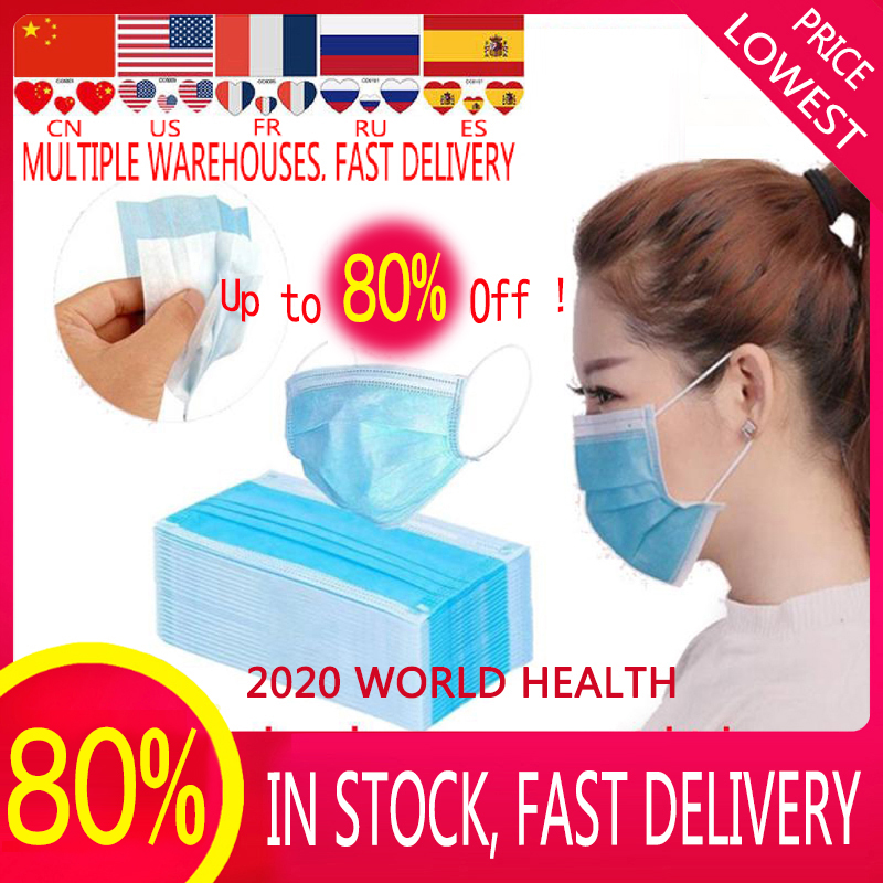 100 PCS In Stock Disposable Mask Safety Mascaras Mask Face Masks Breathable Mask Filter 3-layermask Fast  Delivery  Droppingship