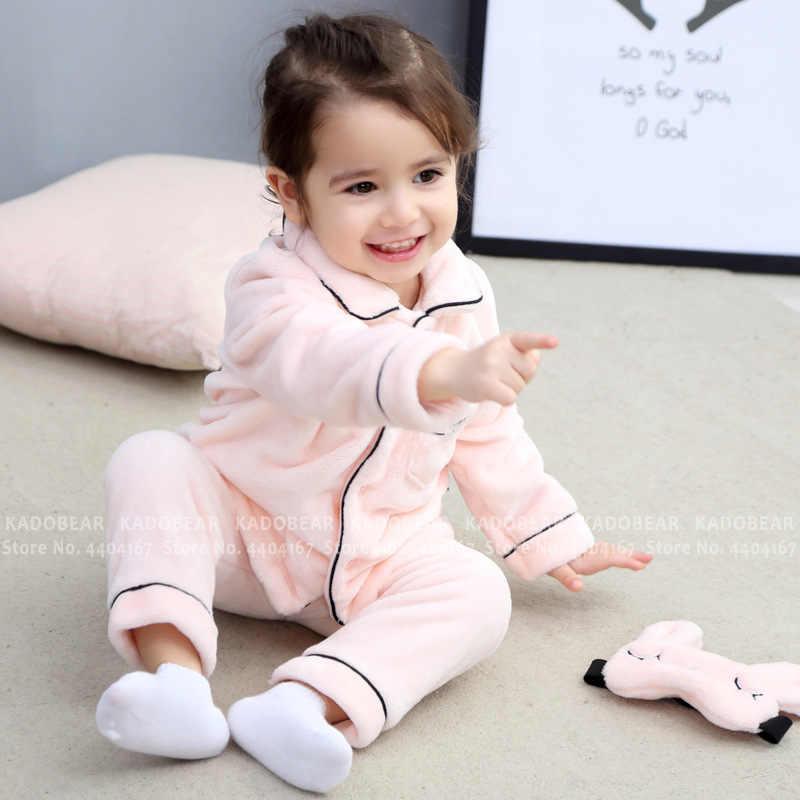 Pijamas de franela para niños conjuntos de Pijamas de terciopelo para bebés y niños Pijamas de lana de Coral conjunto de ropa de invierno 2 uds