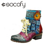 SOCOFY Comfy Leather Shoes Cowgirl Casual Leather Floral Splicing Zipper Square