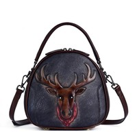 New Retro Leather Women's bag with leather top layer, fashionable single shoulder and slant span, hand held women's embossed bag
