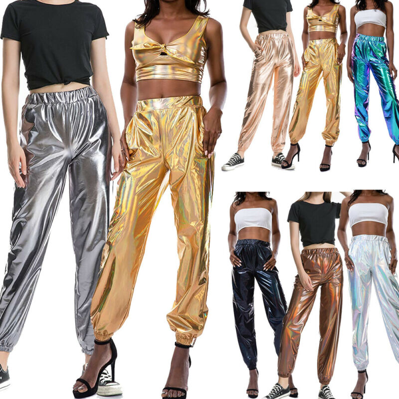Women Stretch Pants Plus Size Sweatpants Metallic Shiny Jogger Pants Casual High Waist Holographic Color Trouser Ropa Mujer