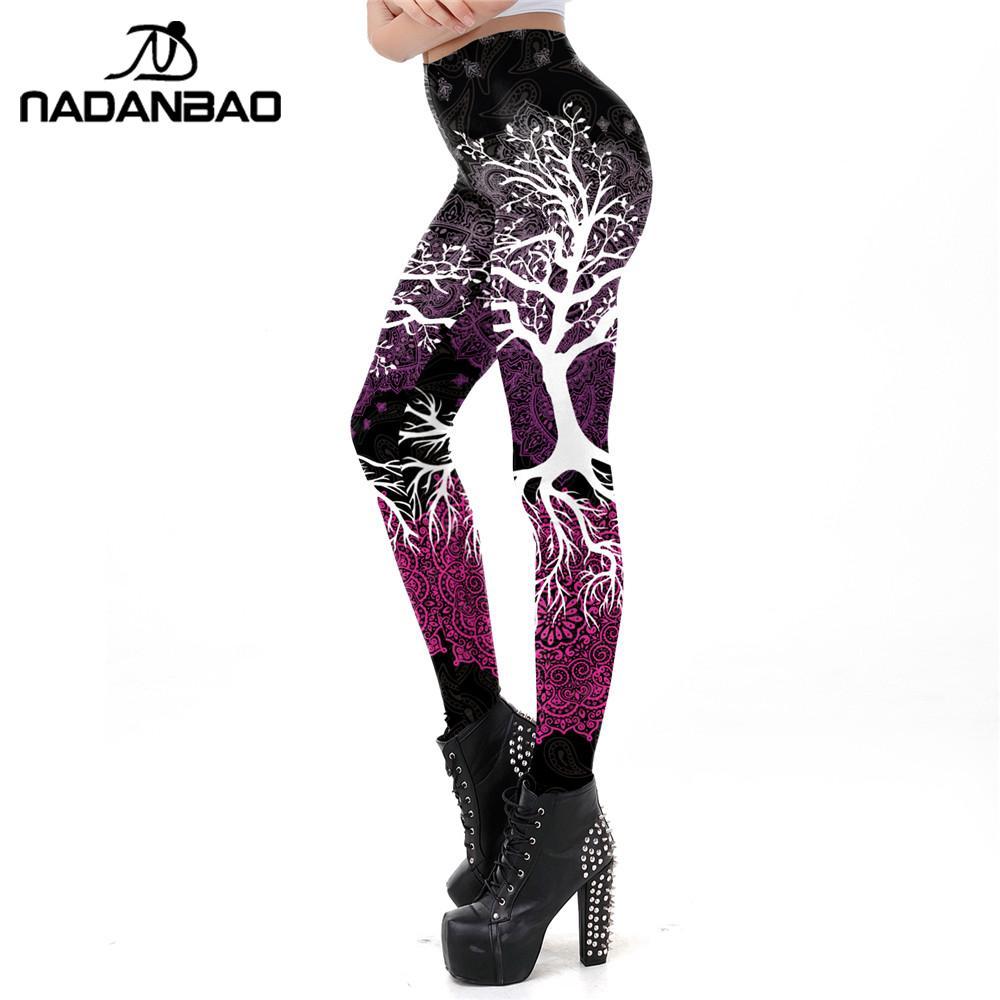 NADANBAO Fashion 3D Printed Leggings Women Fitness Ankle Pants Tree Print Slim Elastic Harajuku Legging Workout Legins Plus Size