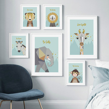 Elephant Lion Tiger Zebra Giraffe Monkey Wall Art Print Canvas Painting Nordic Posters And Prints Animal Pictures Kids Room