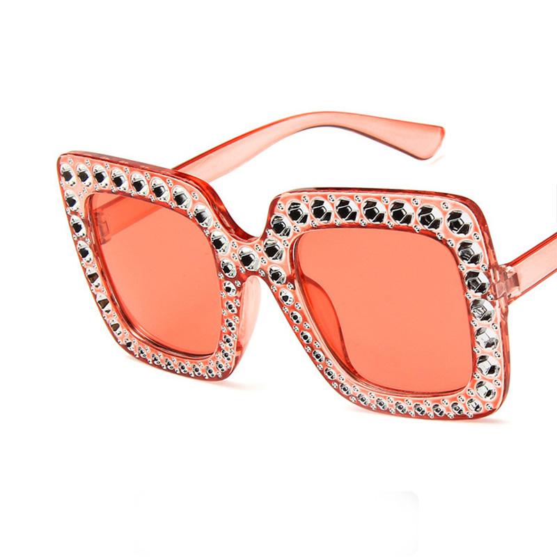Big Square Rhinestone Vintage Sunglasses Luxury Brand Designer Sun Glasses For Women Fashion Crystal Oversize Sunglasses Eyewear