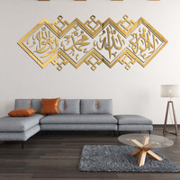 Arabic Calligraphy Islamic Acrylic Mirror 3D Wall Sticker Muslim Wall Decal Self-adhesive Home Decor