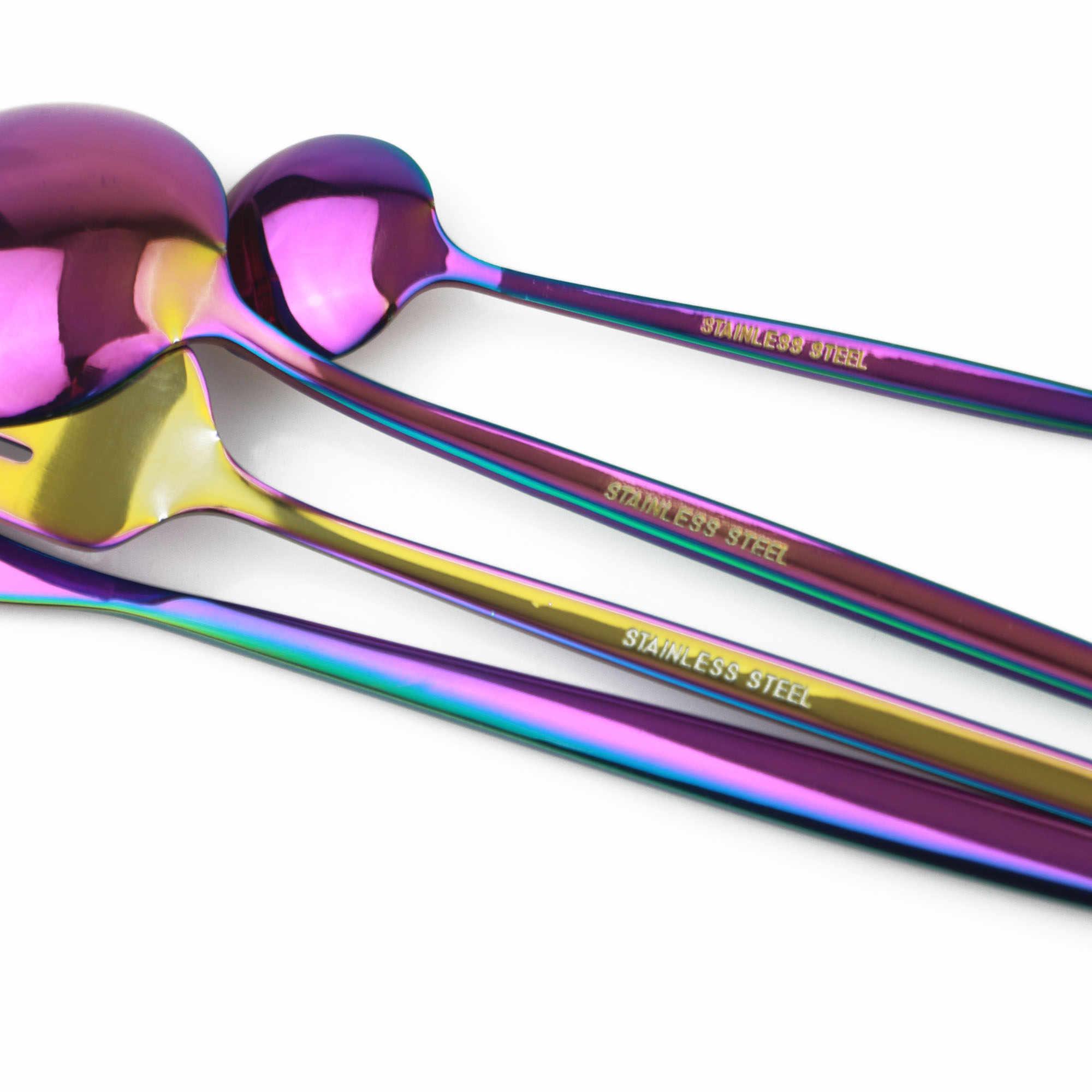 4 قطعة أسود الذهب أواني الطعام مجموعة قوس قزح السكاكين سكين شوكة ملعقة طقم ملاعق 304 الفولاذ المقاوم للصدأ الفضيات طقم أواني مائدة