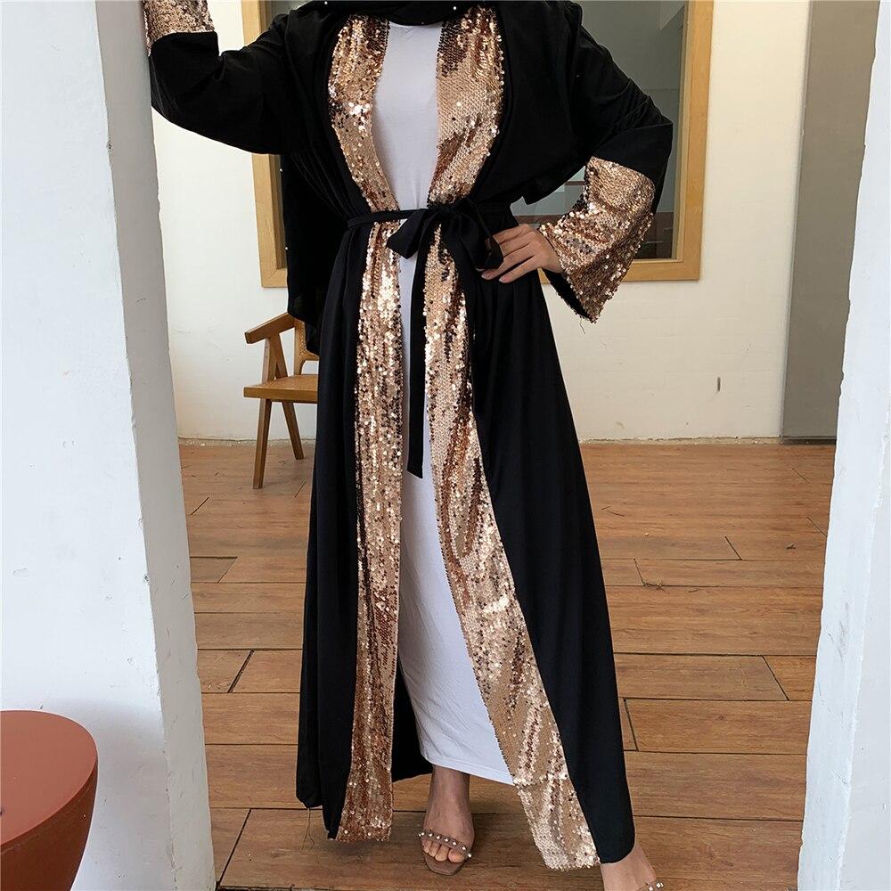Ramadan Eid Sequin Abaya Dubai Arabic Turkey Kimono Cardigan Hijab Muslim Dress Caftan Kaftan Islamic Clothing For Women Robe
