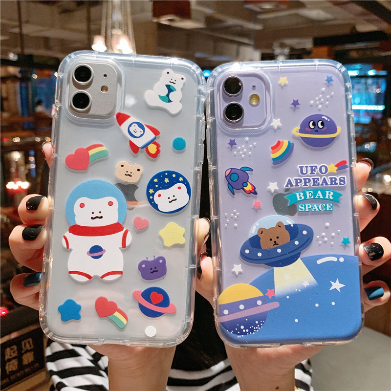 Cartoon Bear Phone Cases For Iphone 12 11 Pro 12 Mini XR XS Max X Soft TPU Back Cover For Iphone 7 8 Plus Cute Lovely Clear Case