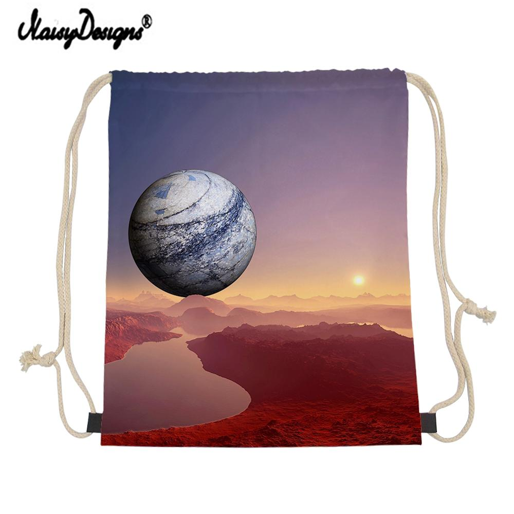 2019 New Fashion Galaxy Star Space Printing Girl Men Women Mini Canvas Backpack Drawstring Bag Mochila Shoe Bags For Travel