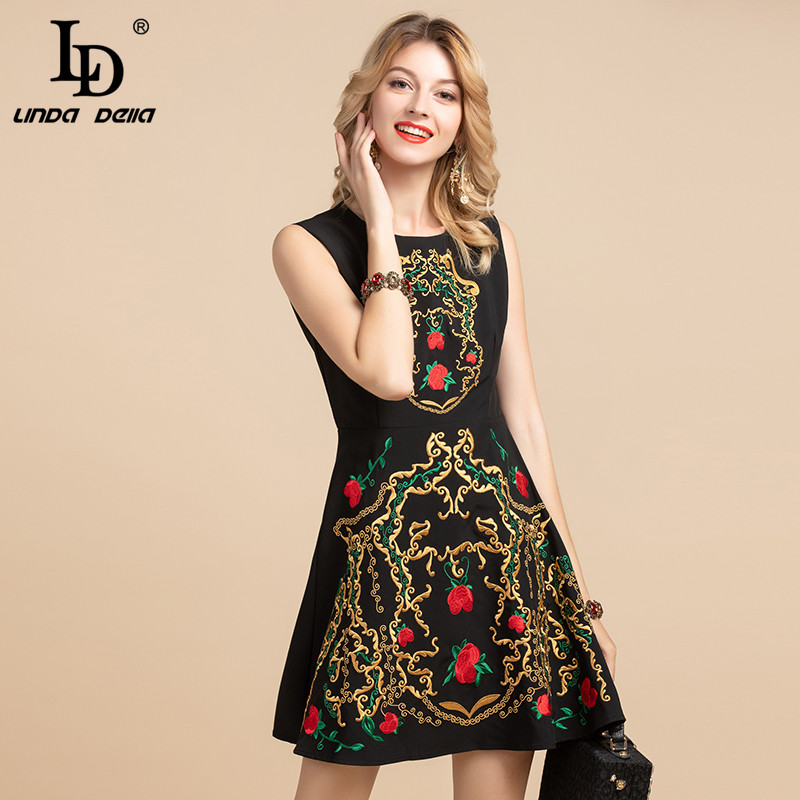 LD LINDA DELLA Fashion Designer Vintage Summer Dress Women's Sleeveless Gorgeous Floral Embroidery A Line Black Short Dresses