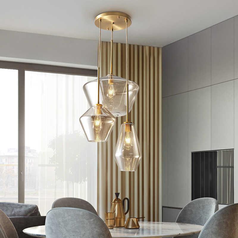 Pingente de vidro led para sala de jantar, design de cozinha, vintage, retrô, iluminação industrial, nórdica, luminária suspensa