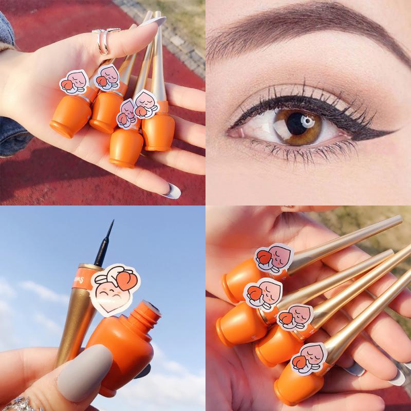 Delineador de ojos con botella bonita, herramienta de maquillaje liso, de secado rápido, no descolorante, impermeable, no florece, TSLM1, 1 Uds.