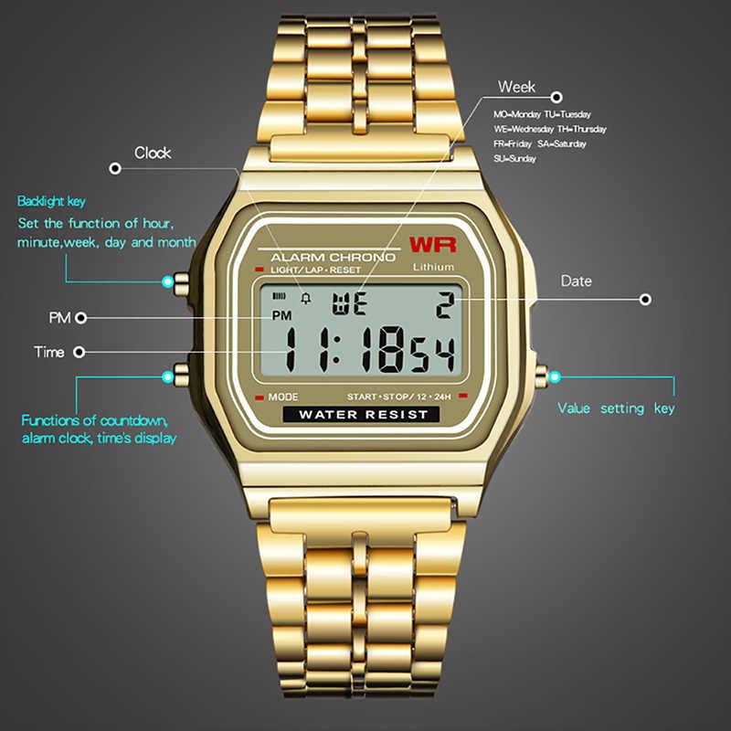 PANARS Homens Relógio Digital de Aço Retro Quadrado Relógio Eletrônico de Prata Relógios De Ouro Mens Data Contagem Relógio Multifuncional Luminosa