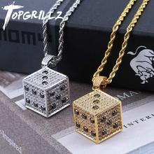 TOPGRILLZ Shiny Square Dice Pendant Necklace Copper Gold Silver Color Iced Out Cubic Zircon Men Hip Hop Jewelry Street Danc Gift