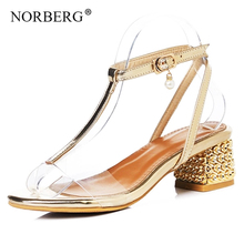 NORBERG ladies shoes gold red sandals summer high heels buckle straps shallow mouth casual XL 31-40
