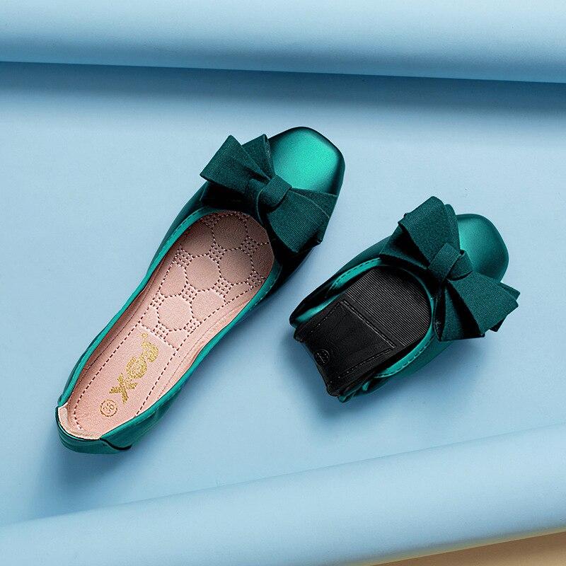 Балетки женские складные, мягкие лоферы, квадратный носок, из искусственной кожи, плоская подошва, 8 цветов, 2020