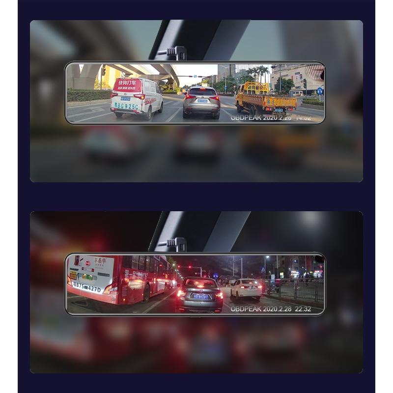 "OBEPEAK D80 12"" Car DVR Rearview Mirror 4G Android 8.1 Dash Cam GPS Navigation ADAS Full HD 1080P Car Video Camera Recorder DVRS 2"