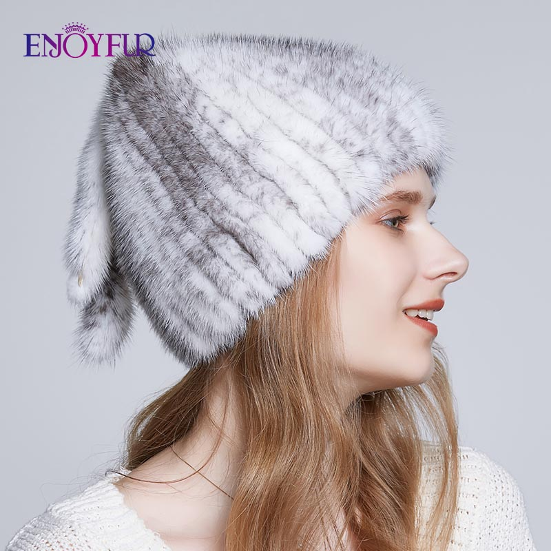 ENJOYFUR Natural Mink Fur Winter Hats For Women Three Tails Type Fur Hat High Quality Luxury