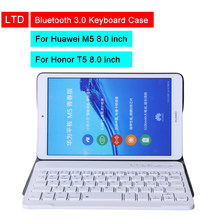 Bluetooth 3.0 Tablet Toetsenbord Case Voor Huawei M5 lite 8 inch Honor Tablet T5 8 inch Mediapad PU Flip Leather beschermhoes(China)
