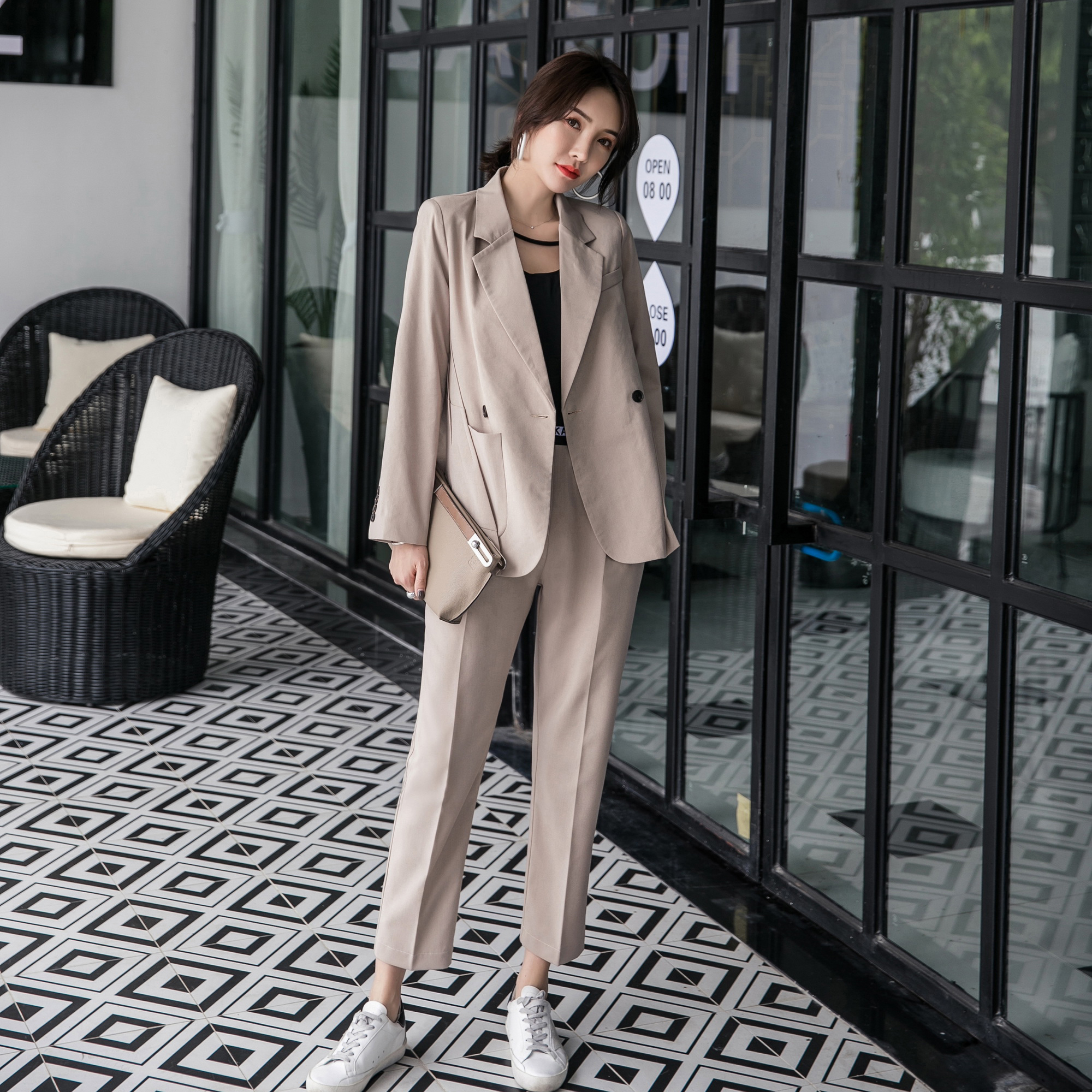 New Arrival Women Notched Patchwork Blazer Elastic Waist Long Harem Pants 2 Piece Set Female Casual Khaki Pants Suit S98305F