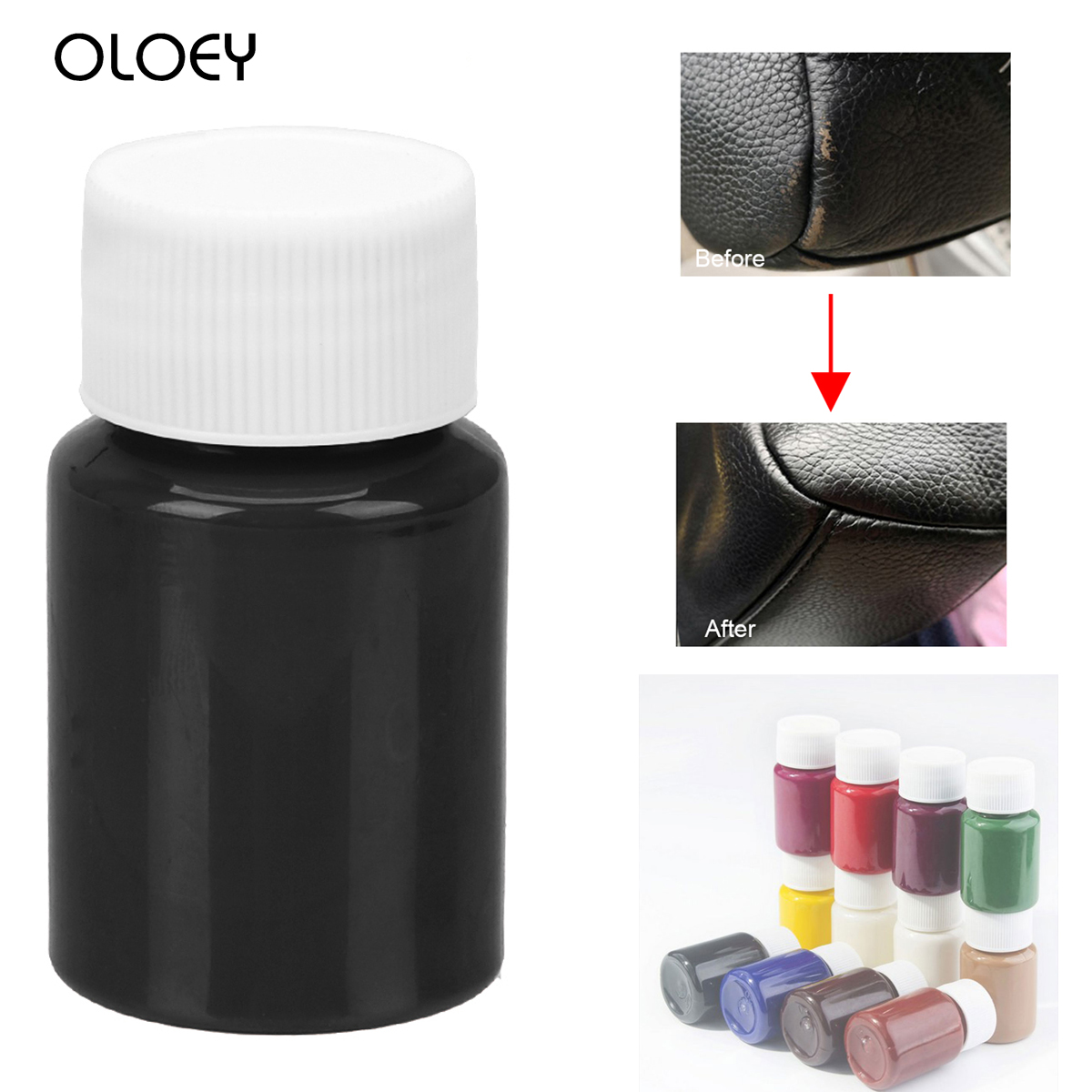 OLOEY 60ml Leather Repair Tool Car Seat Sofa Coats No Heat Liquid Leather And Vinyl Restorer Holes Scratch Cracks Universal