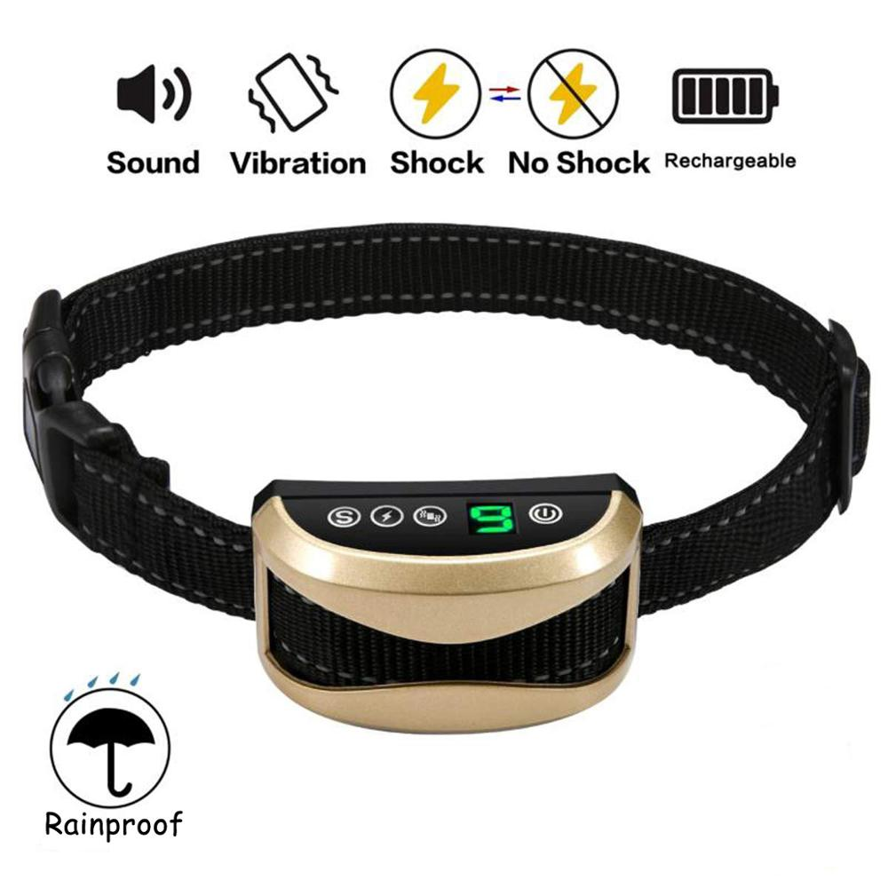 Collar Vibration Stop-Barking Dog-Training-Collars Waterproof Rechargeable 7-Sensitivity