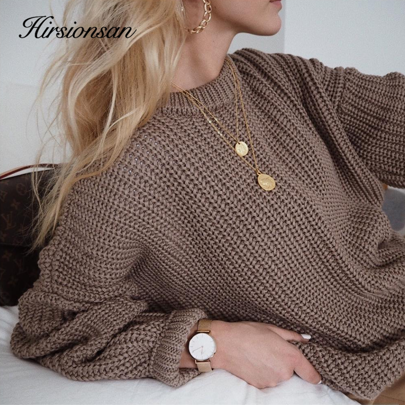 Hirsionsan Knitted Sweater Pullovers Loose Female Elegant Korean Fashion Solid-Tops Warm