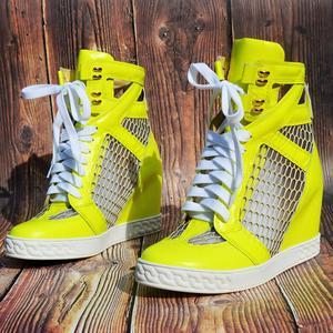 Lemon Net/дышащие кроссовки с перфорацией; Лоскутные ботильоны, визуально увеличивающие рост; женская обувь для отдыха на танкетке 8 см со шнуро...