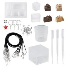 Keychain Resin Jewelry-Making-Kits DIY with Silicone Mould Waxed-Cord Cabochon-Cup Plastic-Tools