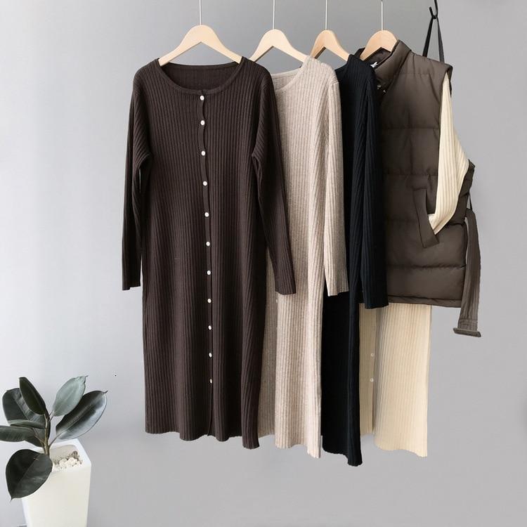 Mooirue Autumn 2019 Casual Knitted Sweater Dress Long Buckle Overknee Knitting Slim Jumper Women Grey Knitwear