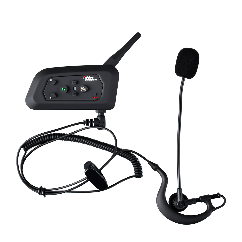 V4 BT Interphone Bluetooth Intercom Headset Suitable For Football Referee Bicycle Conference 4 People Talk At The Same Time FM