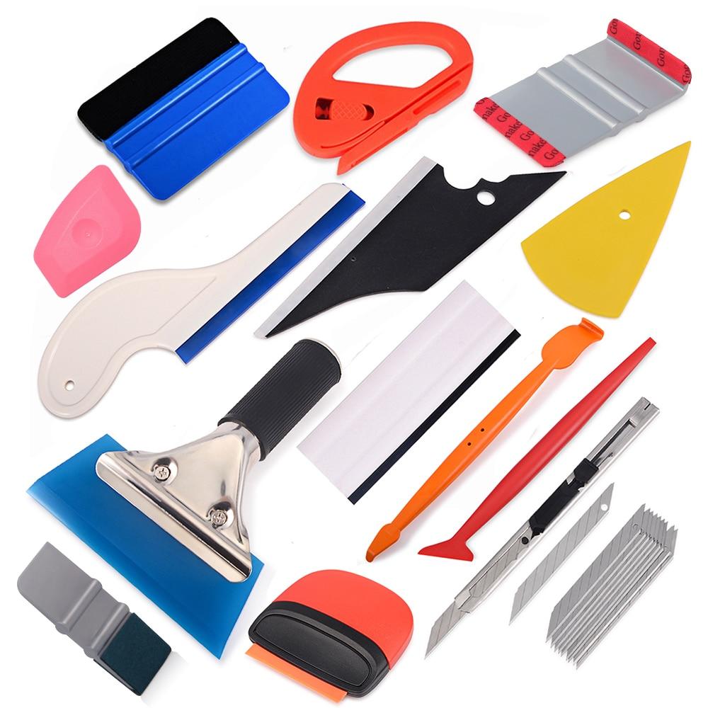 FOSHIO Carbon Fiber Vinyl Film Wrap Car Accessories Tools Kit Auto Window Tinting Scraper Magnet Wrapping Squeegee Sticker Knife